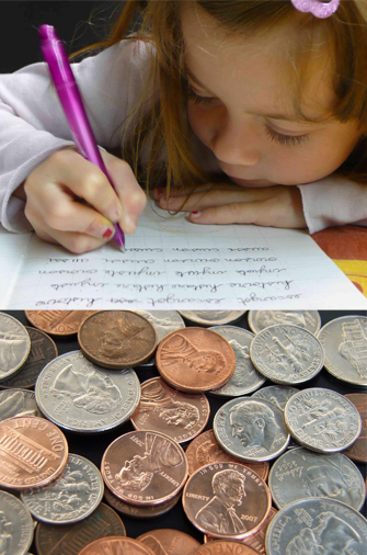 Girl Writing and Coins